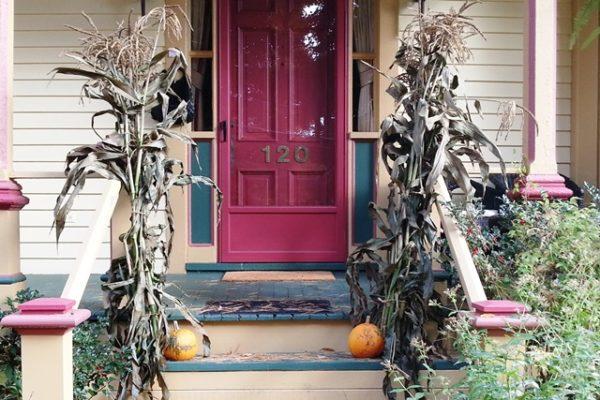 Cornstalks by front porch